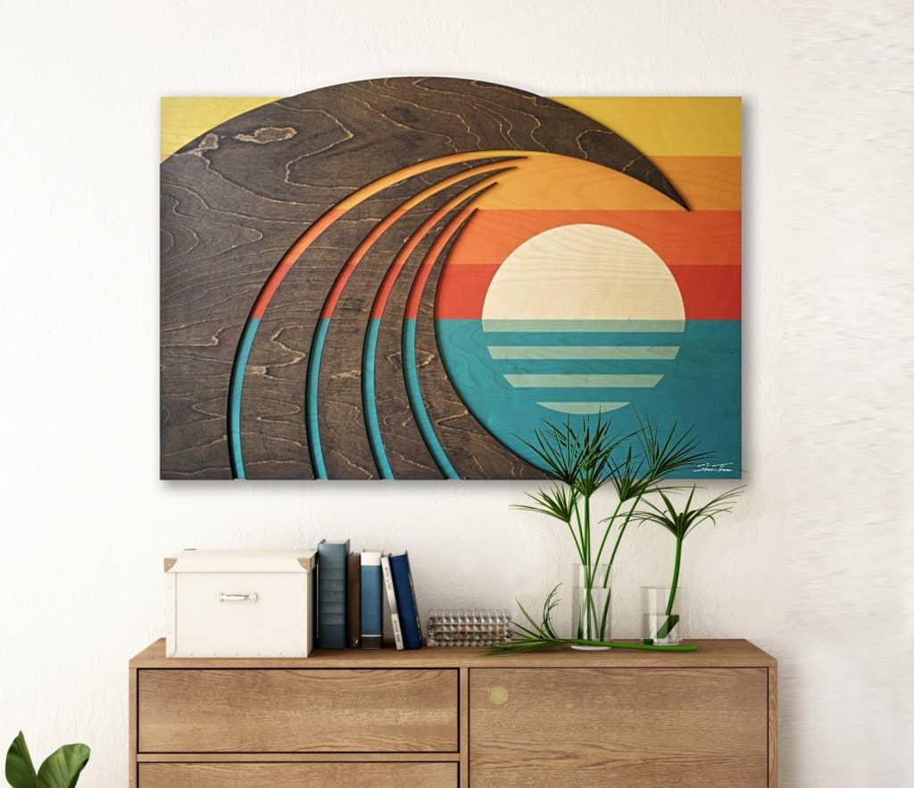 Surf Wall Art | Wooden wave art | Hawiian artwork