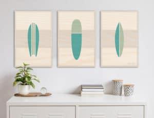 Wooden Surfboard artwork   beach artwork decor   Surfboard wall art   surf room decor