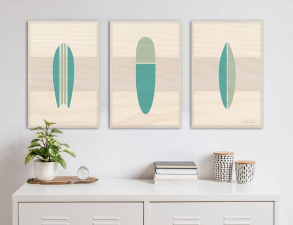 Wooden Surfboard artwork | beach artwork decor | Surfboard wall art | surf room decor