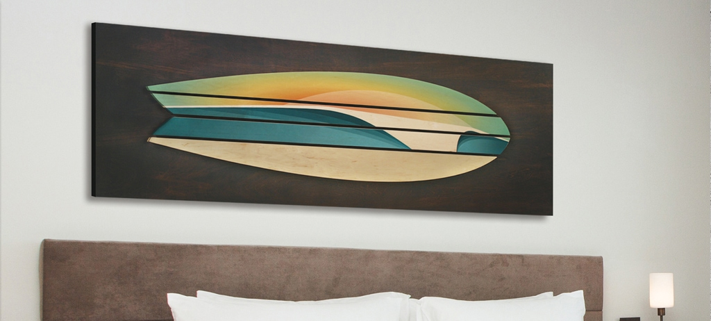 wooden surf board decor | Surf Wall Art | coastal wall sculptures | san diego surf art | beach artwork decor