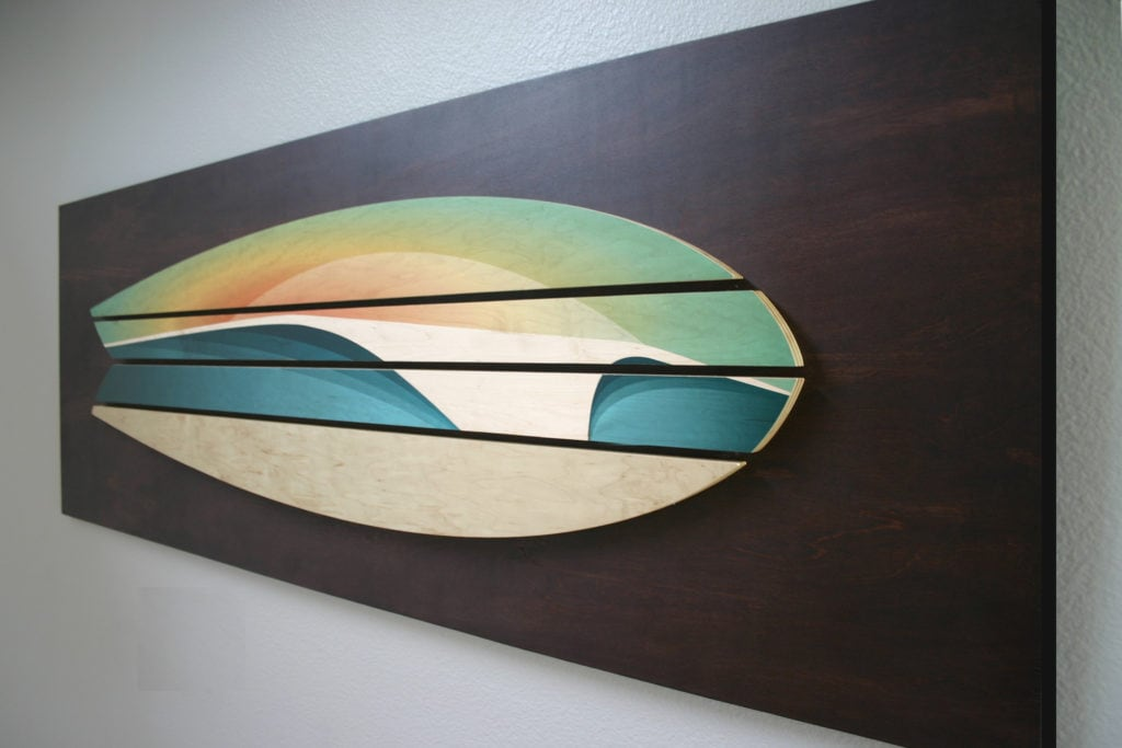 wooden surf board decor | Shaun Thomas