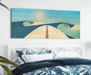 WOODEN SURFBOARD DECOR   san diego surf art   beach artwork decor   surfboard wall art