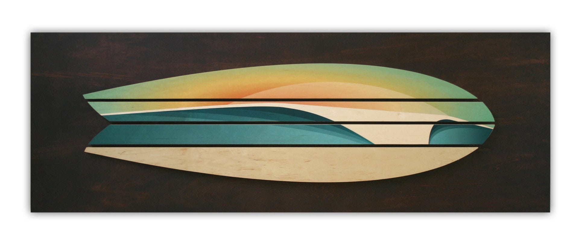 wooden surfboard decor | beach artwork decor | Surfboard wall art | Shaun Thomas | Wooden wave art