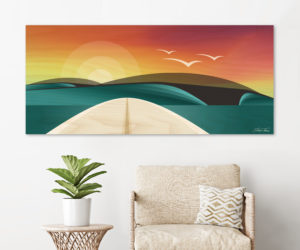 WOODEN SURFBOARD DECOR | beach artwork decor | Surfboard wall art | Surf art prints