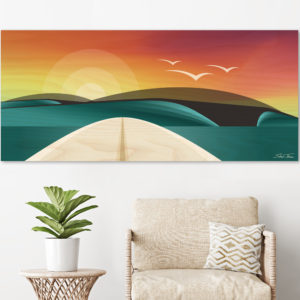 WOODEN SURFBOARD DECOR | beach artwork decor | Surfboard wall art