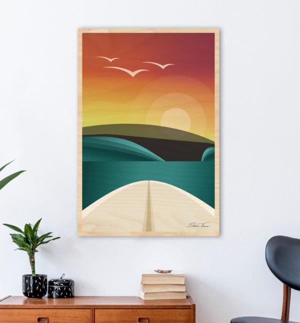 WOODEN SURFBOARD DECOR | Surf art prints