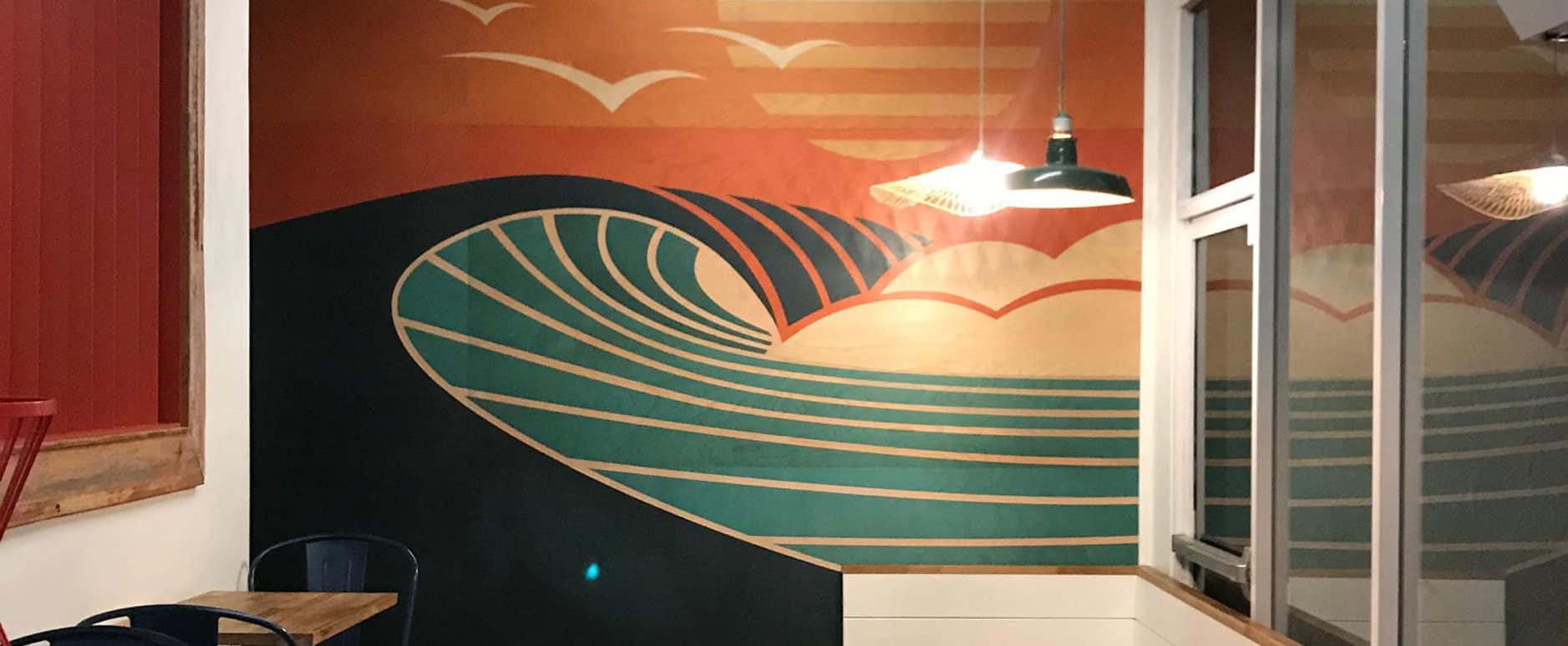 San Diego art, Wood Mural, Shaun Thomas, Surf Art