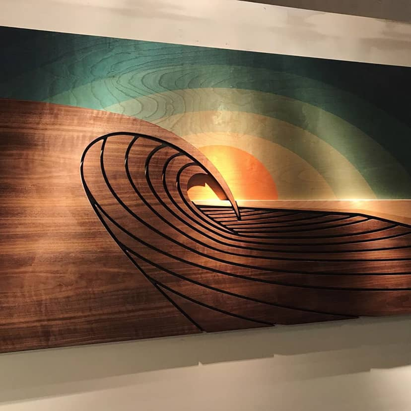 wood wave wall sculpture - shaun thomas